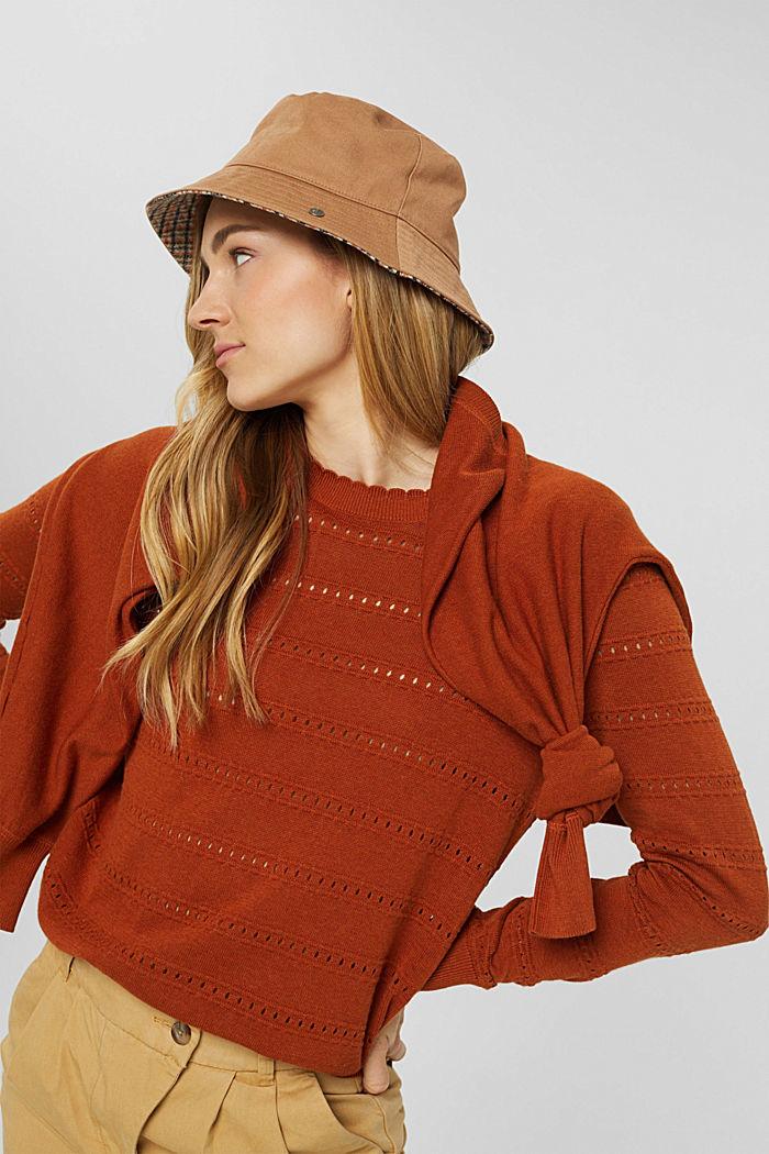 Pullover mit Ajourstreifen, 100% Bio-Baumwolle, RUST ORANGE, detail image number 5