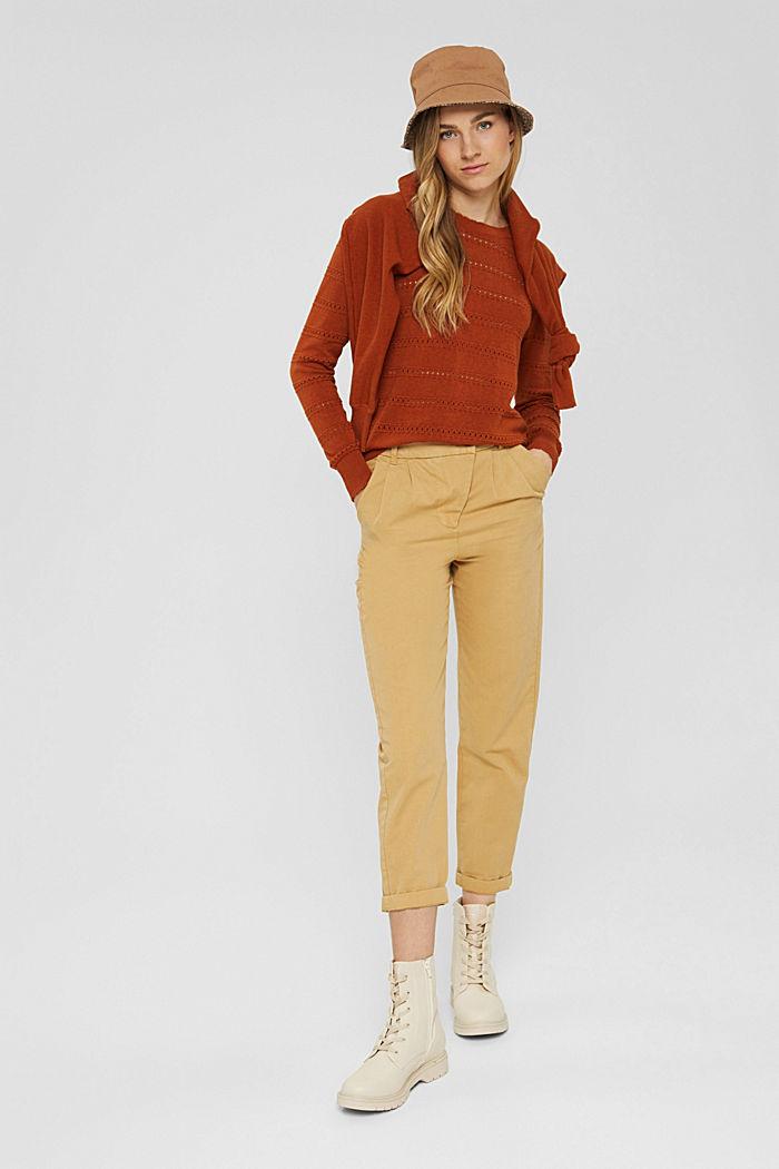 Pullover mit Ajourstreifen, 100% Bio-Baumwolle, RUST ORANGE, detail image number 1