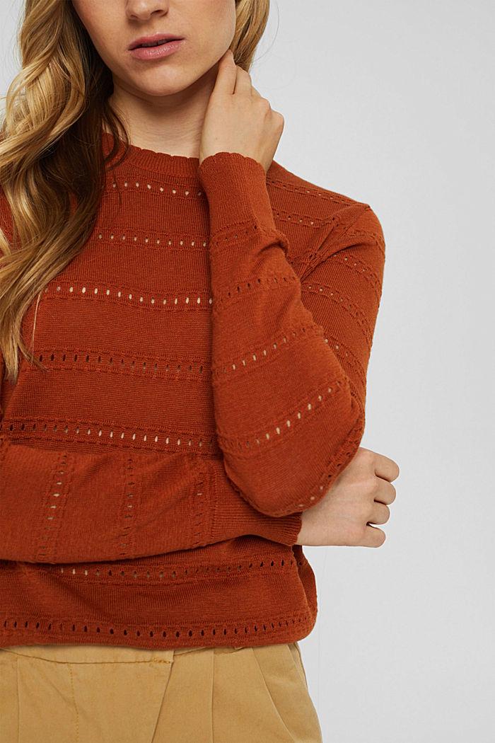 Pullover mit Ajourstreifen, 100% Bio-Baumwolle, RUST ORANGE, detail image number 2