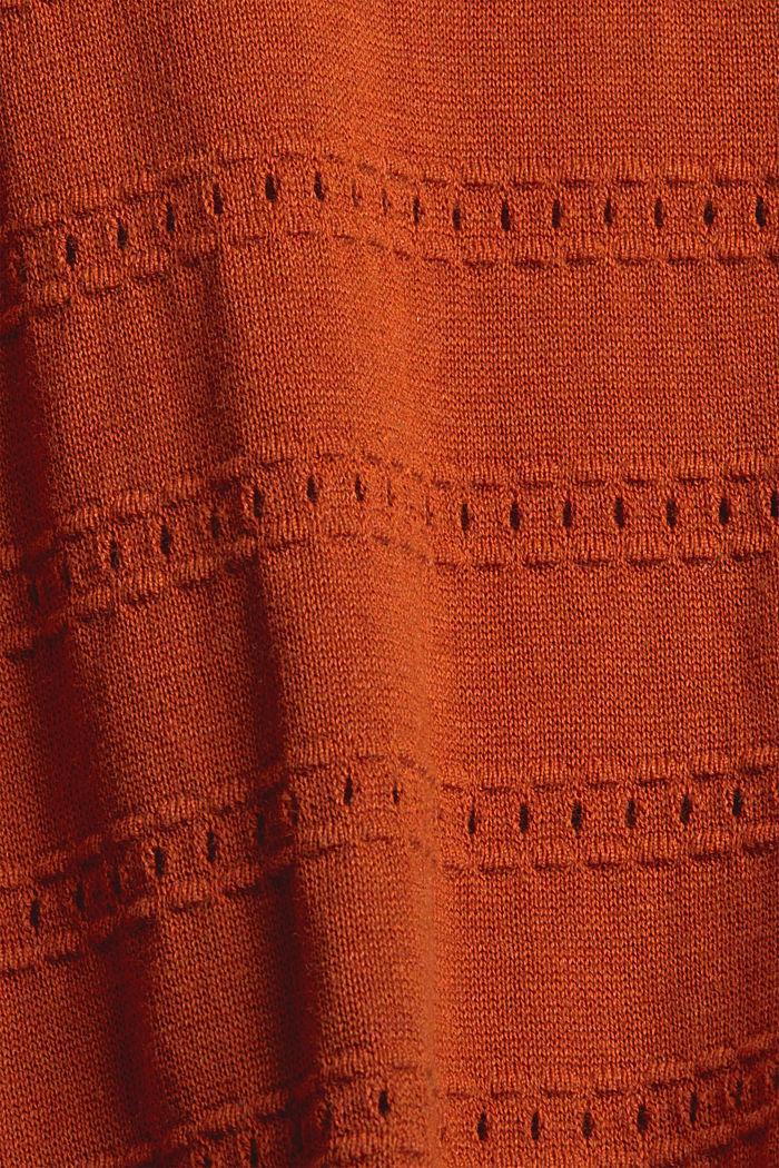 Pullover mit Ajourstreifen, 100% Bio-Baumwolle, RUST ORANGE, detail image number 4