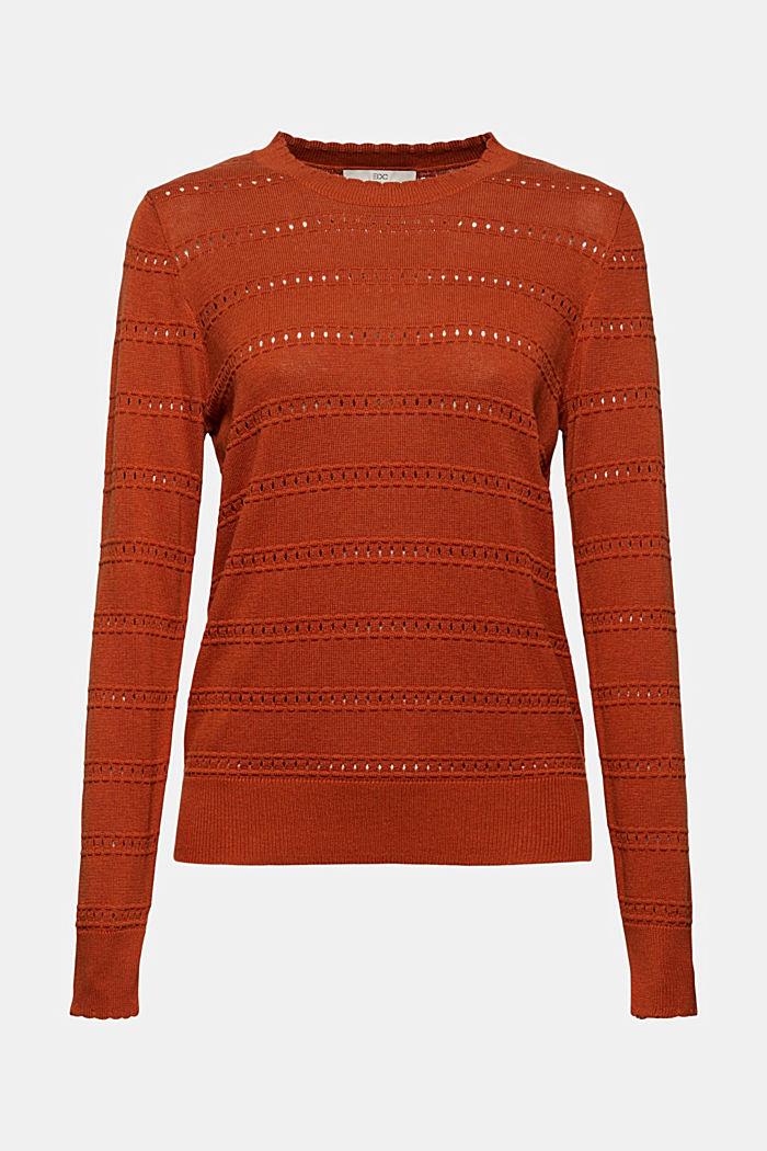 Pullover mit Ajourstreifen, 100% Bio-Baumwolle, RUST ORANGE, detail image number 6