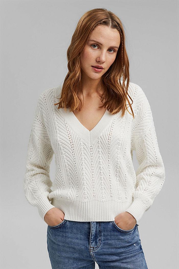 V-Neck Pullover mit Struktur, 100% Baumwolle, OFF WHITE, detail image number 0