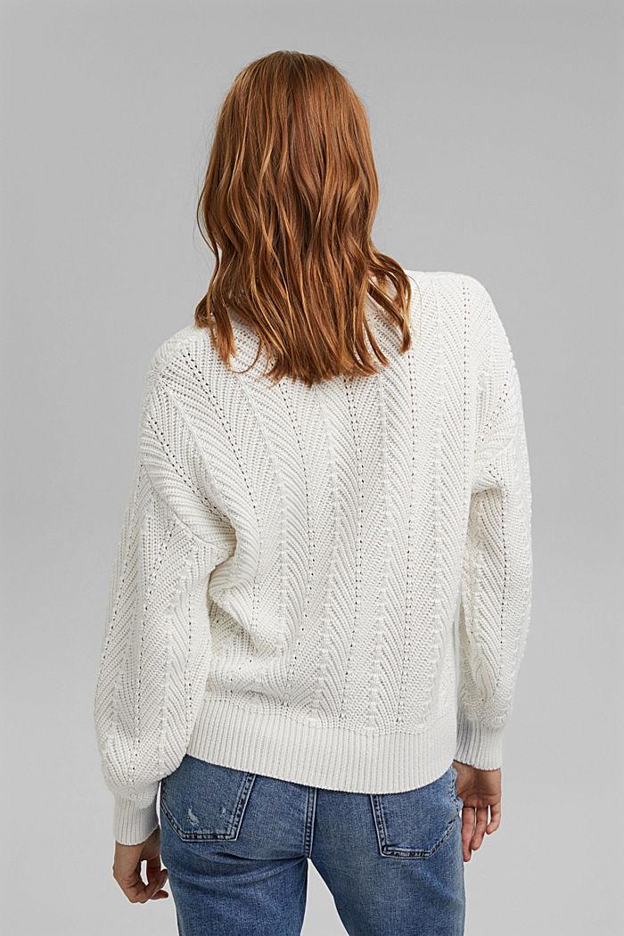 V-Neck Pullover mit Struktur, 100% Baumwolle, OFF WHITE, detail image number 3