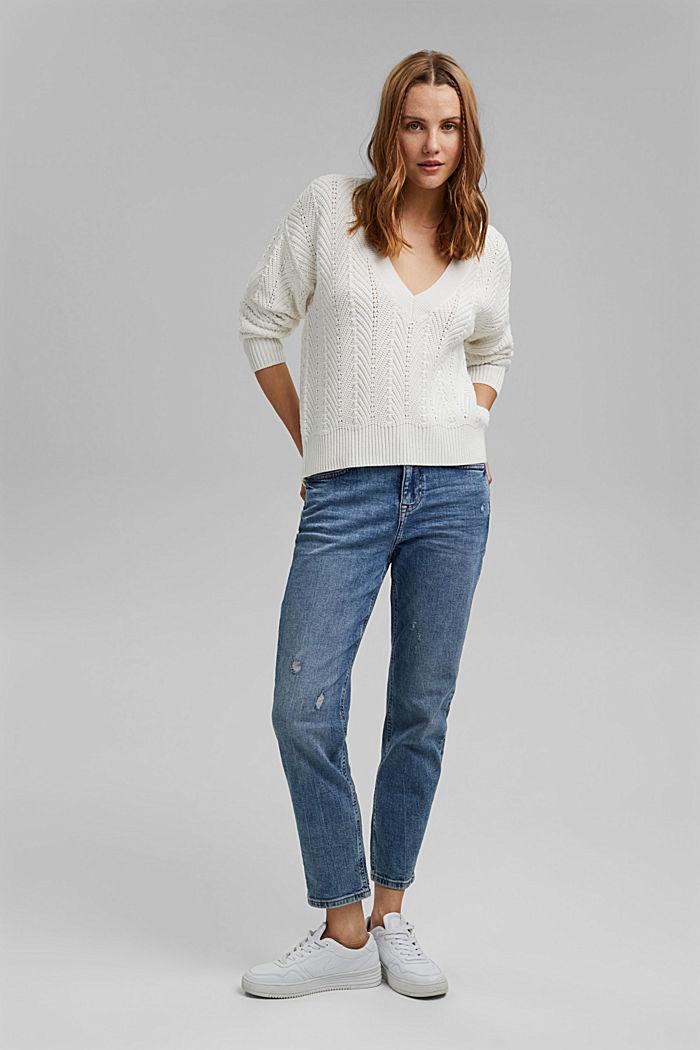 V-Neck Pullover mit Struktur, 100% Baumwolle, OFF WHITE, detail image number 1