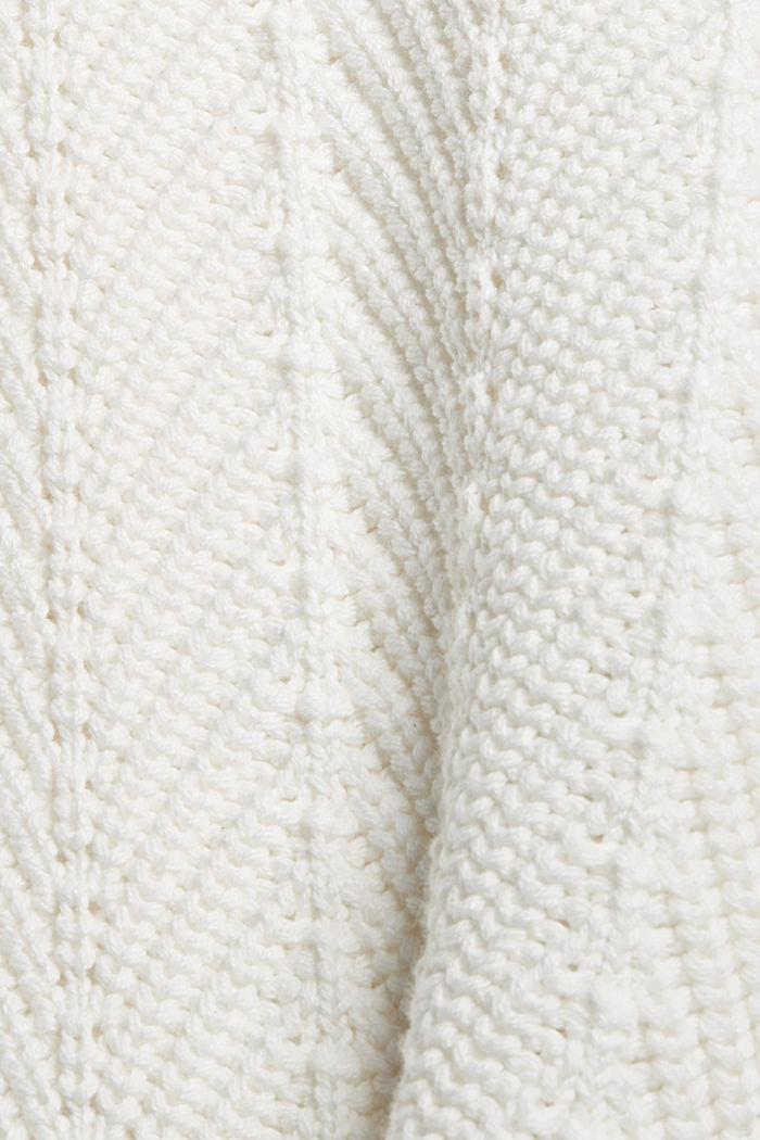 V-Neck Pullover mit Struktur, 100% Baumwolle, OFF WHITE, detail image number 4