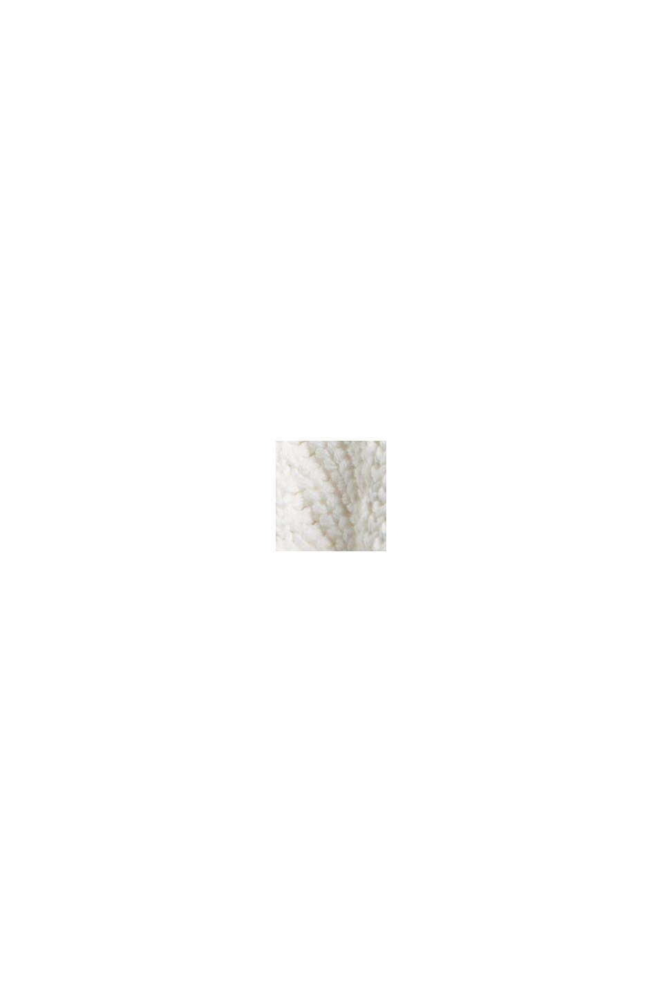 V-Neck Pullover mit Struktur, 100% Baumwolle, OFF WHITE, swatch