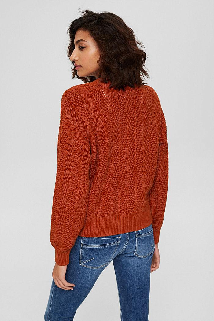Textured V-neck jumper, 100% cotton, RUST ORANGE, detail image number 3
