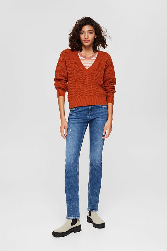 Textured V-neck jumper, 100% cotton, RUST ORANGE, detail image number 1