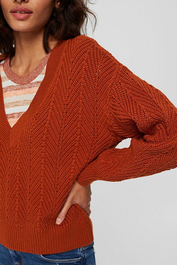 Textured V-neck jumper, 100% cotton, RUST ORANGE, detail image number 2