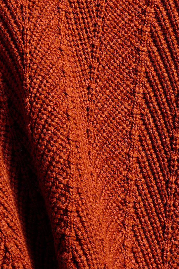 Textured V-neck jumper, 100% cotton, RUST ORANGE, detail image number 4