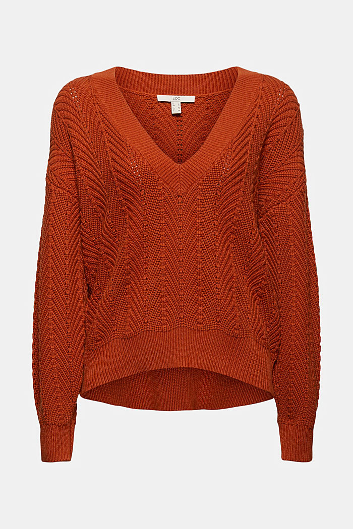 V-Neck Pullover mit Struktur, 100% Baumwolle