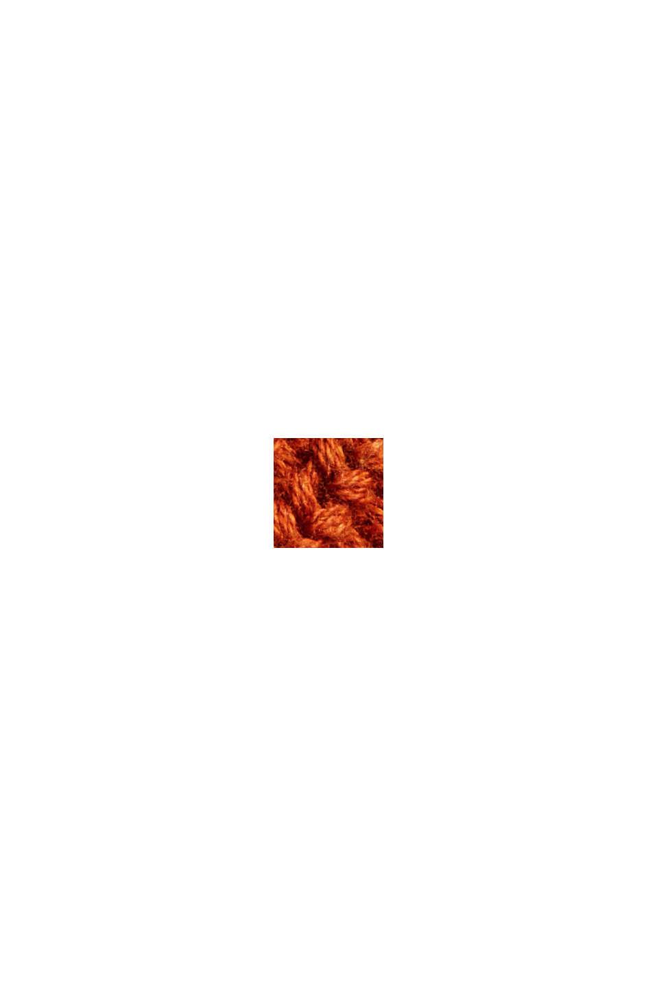 V-Neck Pullover mit Struktur, 100% Baumwolle, RUST ORANGE, swatch