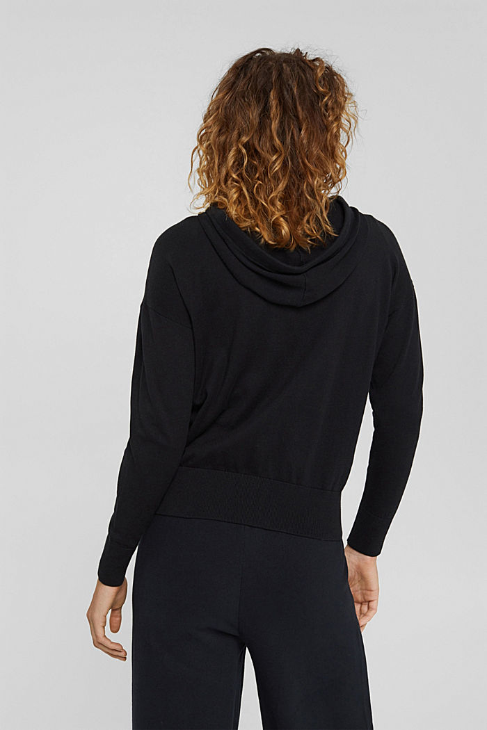Fine knit cardigan with a hood, 100% cotton, BLACK, detail image number 3
