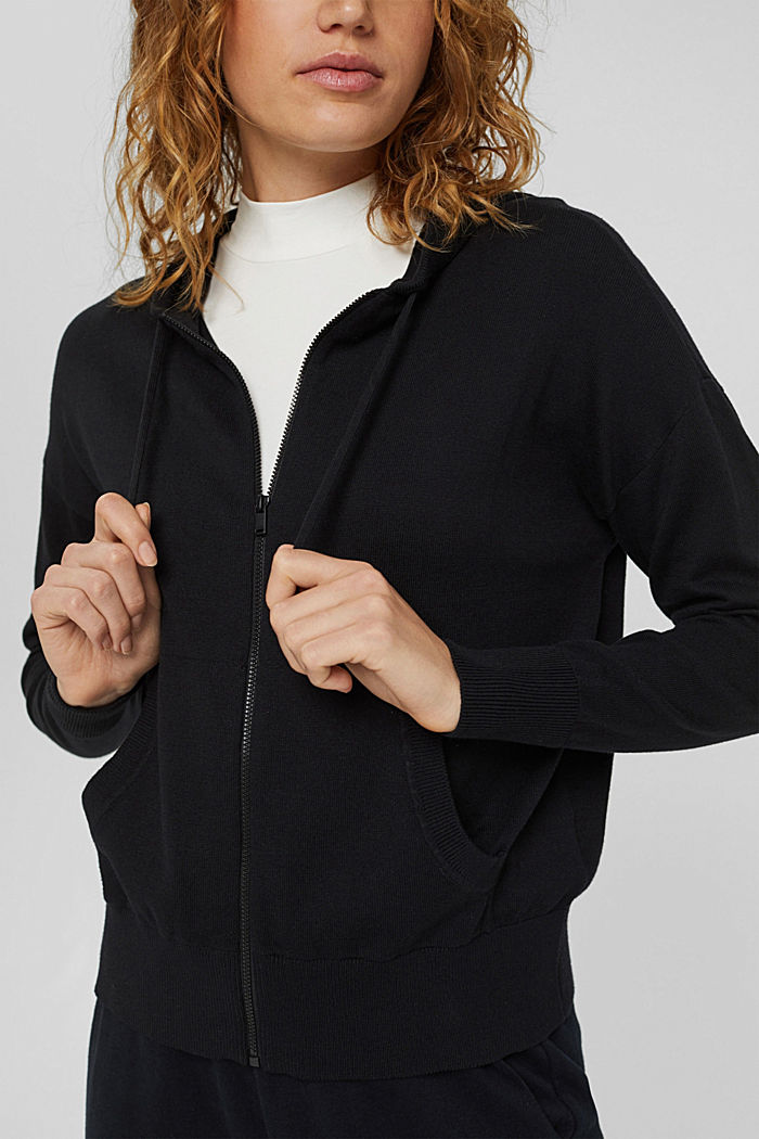 Fine knit cardigan with a hood, 100% cotton, BLACK, detail image number 2