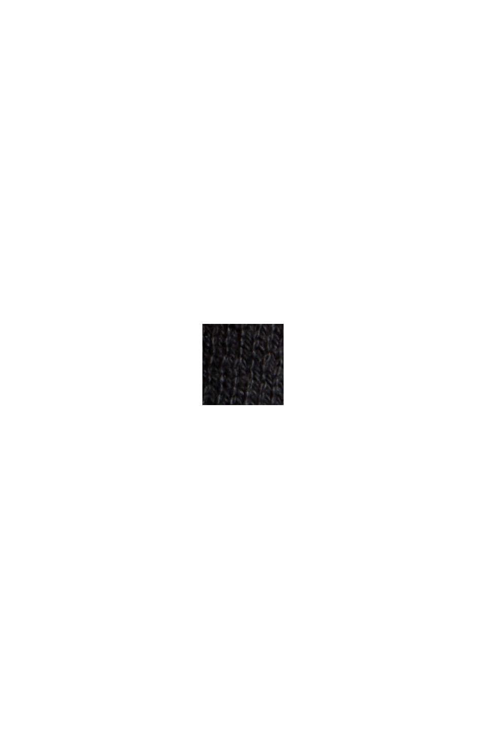 Cárdigan de punto fino con capucha, 100 % algodón, BLACK, swatch