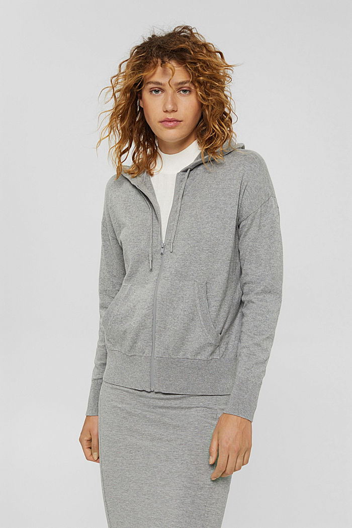 Cárdigan de punto fino con capucha, 100 % algodón, MEDIUM GREY, detail image number 0