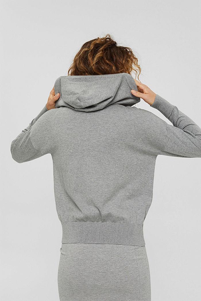 Cárdigan de punto fino con capucha, 100 % algodón, MEDIUM GREY, detail image number 3