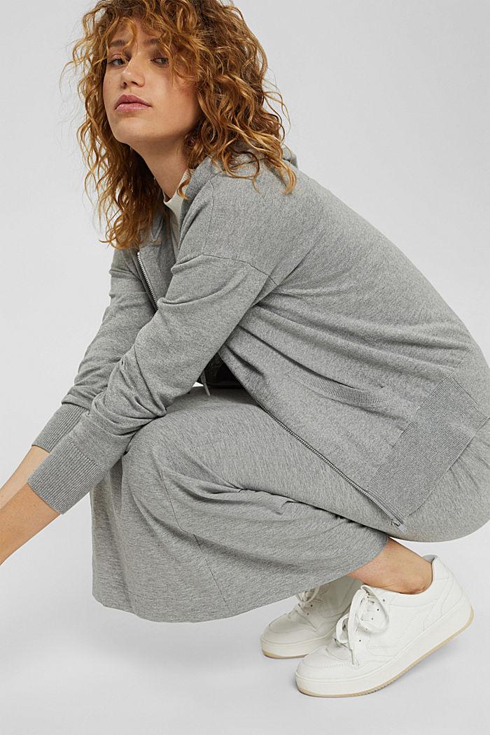 Cárdigan de punto fino con capucha, 100 % algodón, MEDIUM GREY, detail image number 5