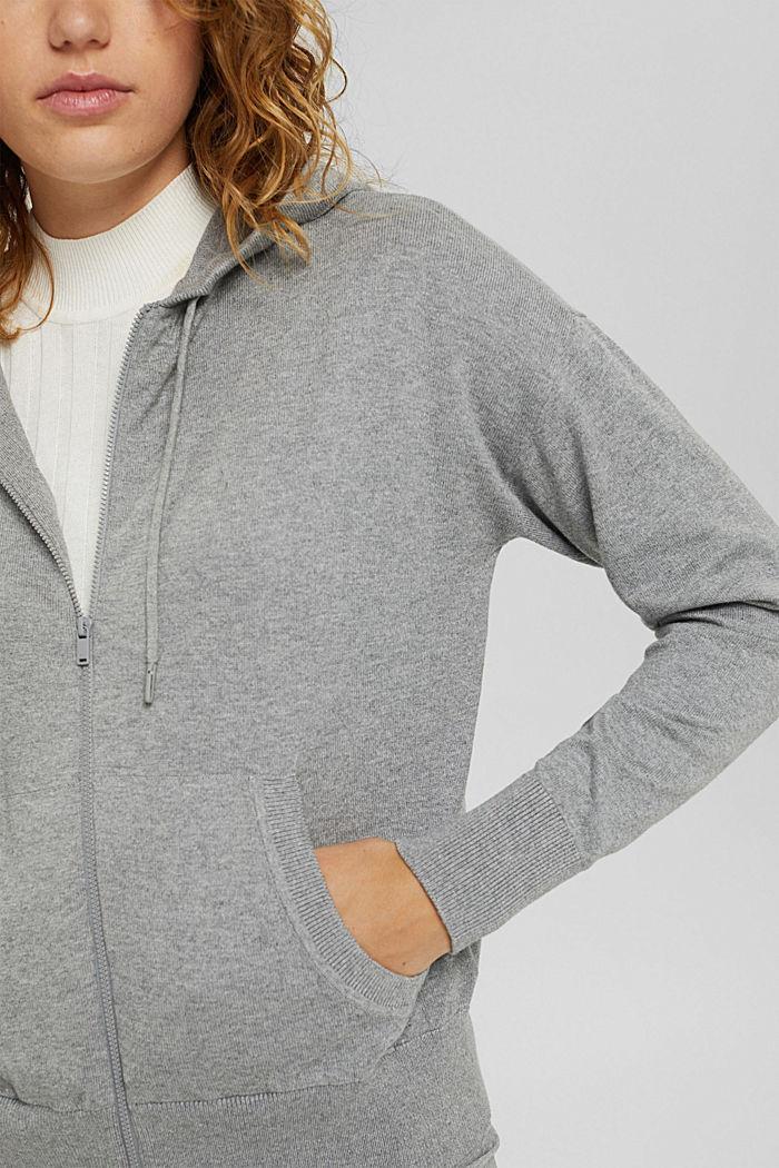 Cárdigan de punto fino con capucha, 100 % algodón, MEDIUM GREY, detail image number 2