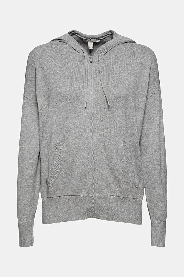 Cárdigan de punto fino con capucha, 100 % algodón, MEDIUM GREY, detail image number 6