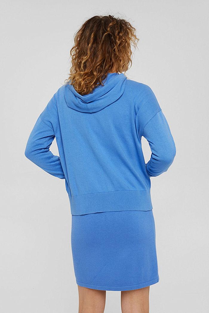 Fijngebreid vest met capuchon, 100% katoen, BRIGHT BLUE, detail image number 3