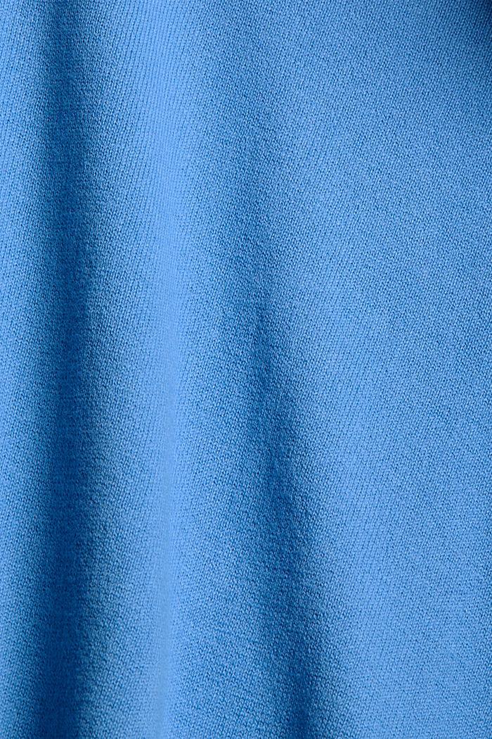 Fijngebreid vest met capuchon, 100% katoen, BRIGHT BLUE, detail image number 4