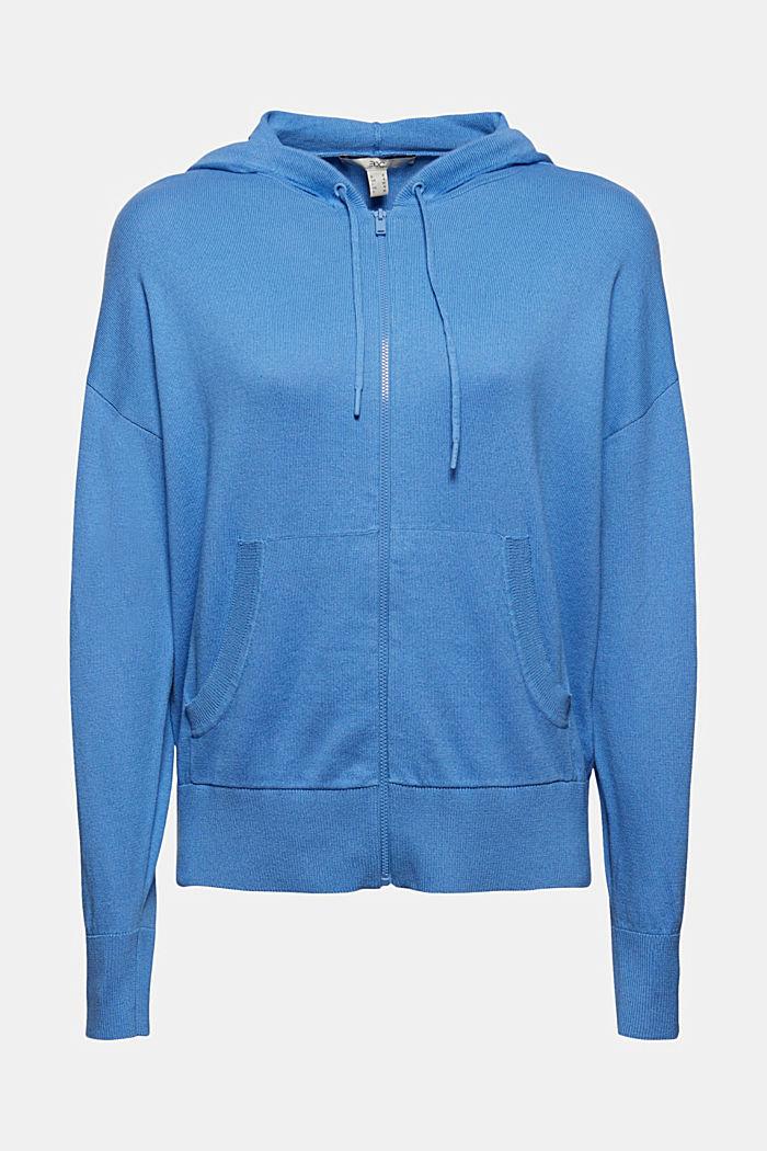 Cárdigan de punto fino con capucha, 100 % algodón