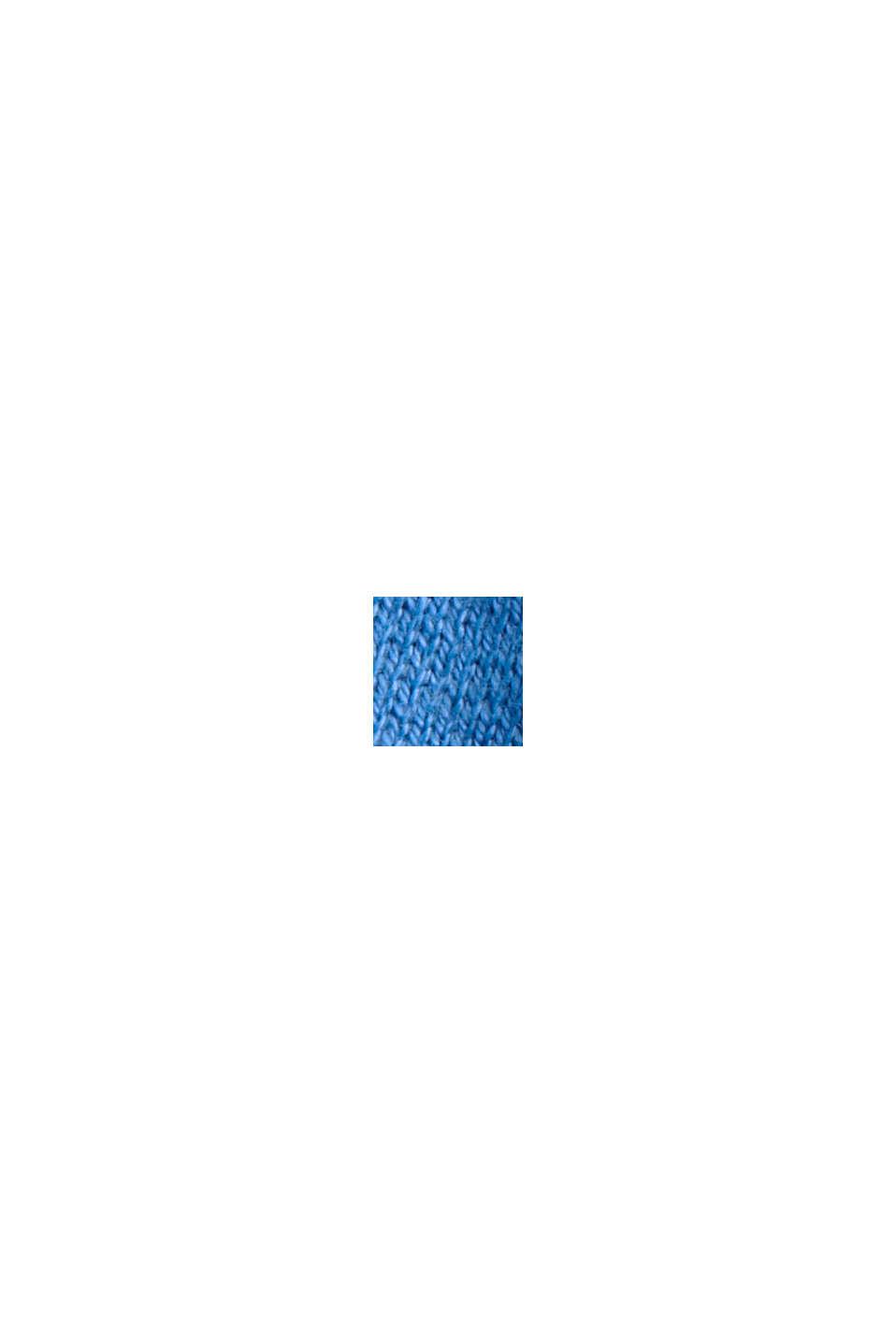 Cárdigan de punto fino con capucha, 100 % algodón, BRIGHT BLUE, swatch