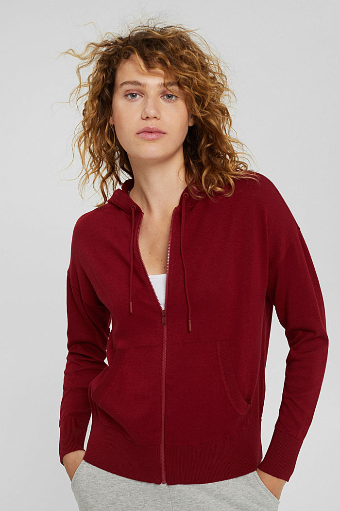 Fine knit cardigan with a hood, 100% cotton, DARK RED, detail image number 0