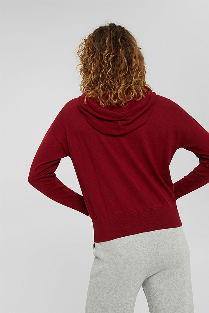 Fine knit cardigan with a hood, 100% cotton, DARK RED, detail image number 3