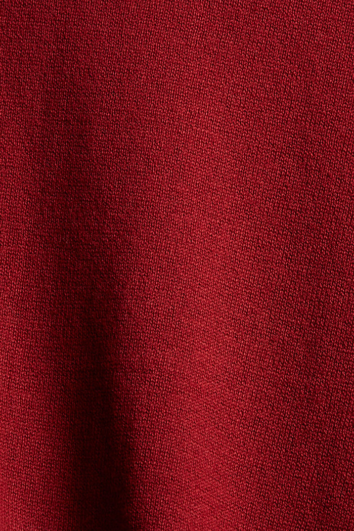 Fine knit cardigan with a hood, 100% cotton, DARK RED, detail image number 4