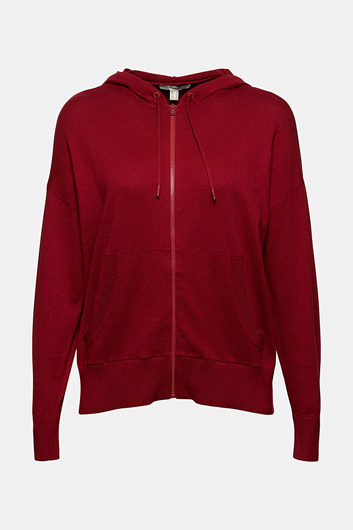 Fine knit cardigan with a hood, 100% cotton, DARK RED, detail image number 5