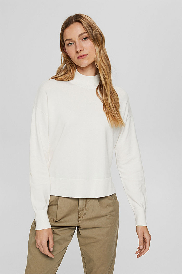 Blended cotton jumper with a stand-up collar, OFF WHITE, detail image number 0