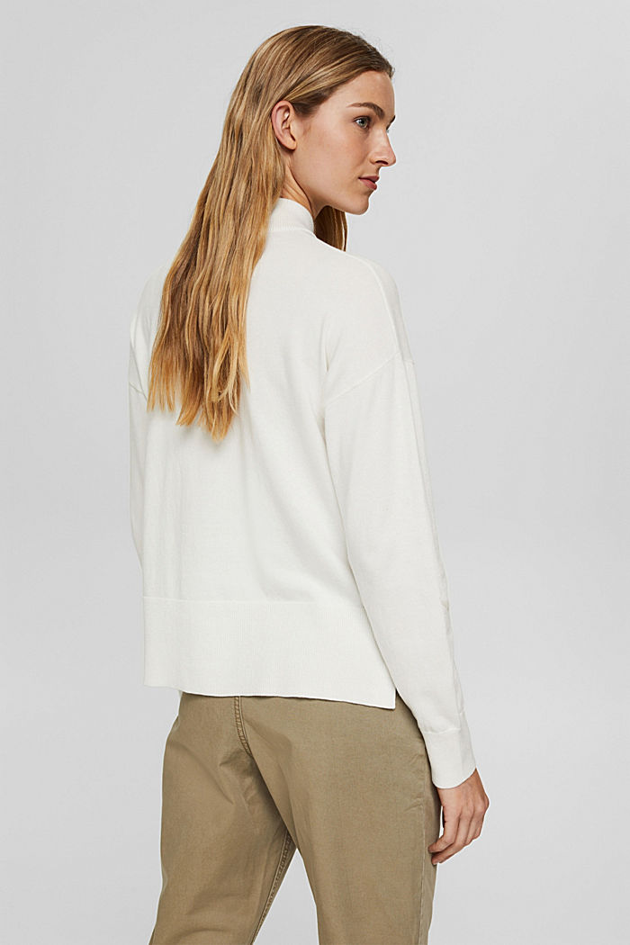 Blended cotton jumper with a stand-up collar, OFF WHITE, detail image number 3