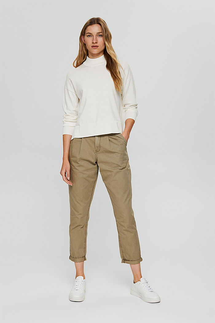 Blended cotton jumper with a stand-up collar, OFF WHITE, detail image number 1