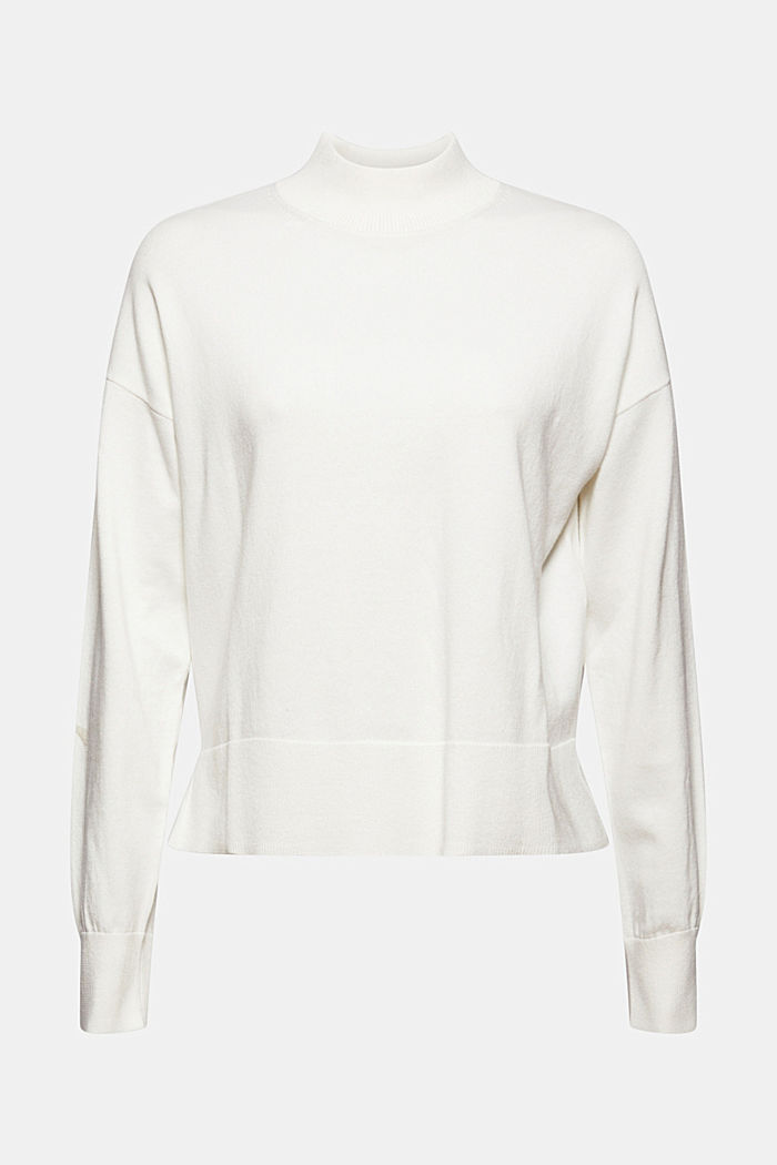 Blended cotton jumper with a stand-up collar, OFF WHITE, detail image number 6
