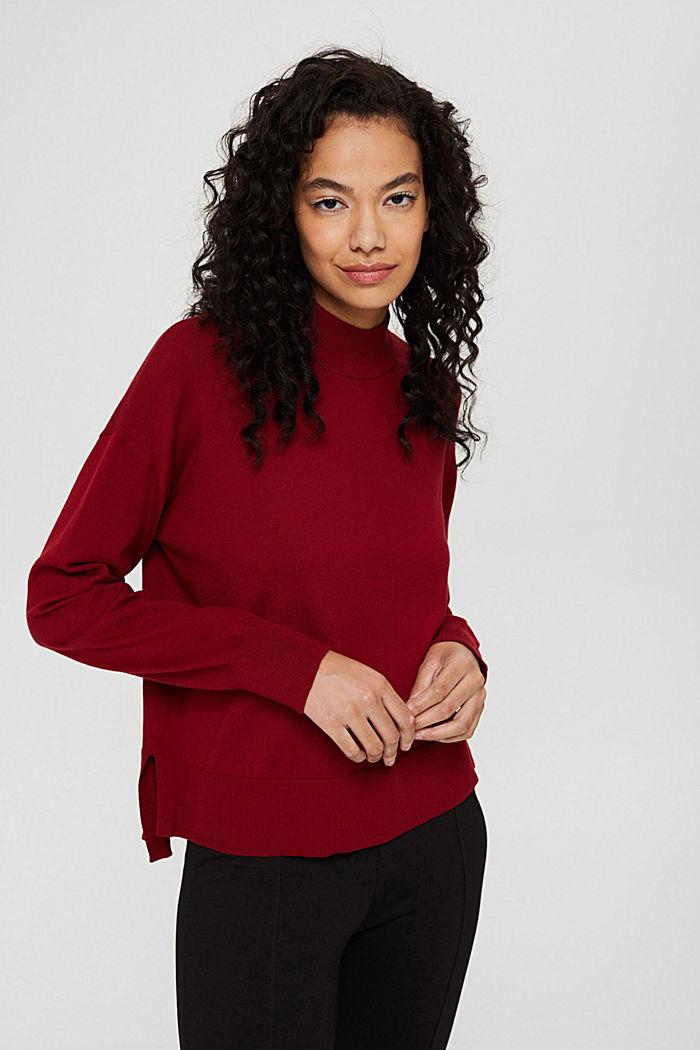 Pullover mit Stehkragen aus Baumwoll-Mix, DARK RED, detail image number 0
