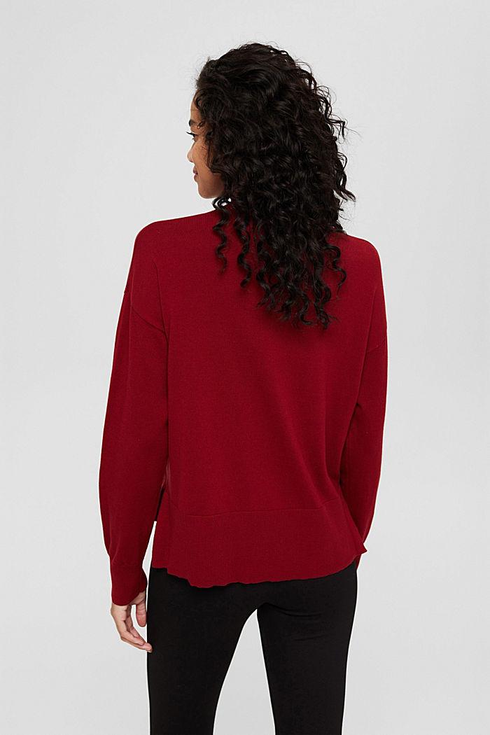 Pullover mit Stehkragen aus Baumwoll-Mix, DARK RED, detail image number 3