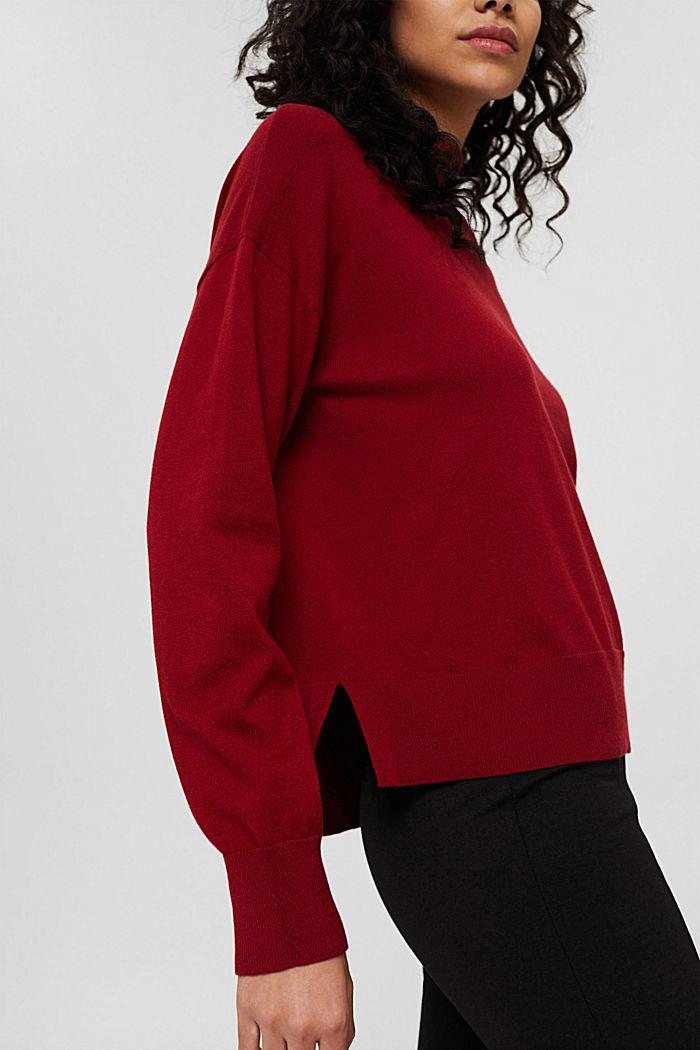 Pullover mit Stehkragen aus Baumwoll-Mix, DARK RED, detail image number 2
