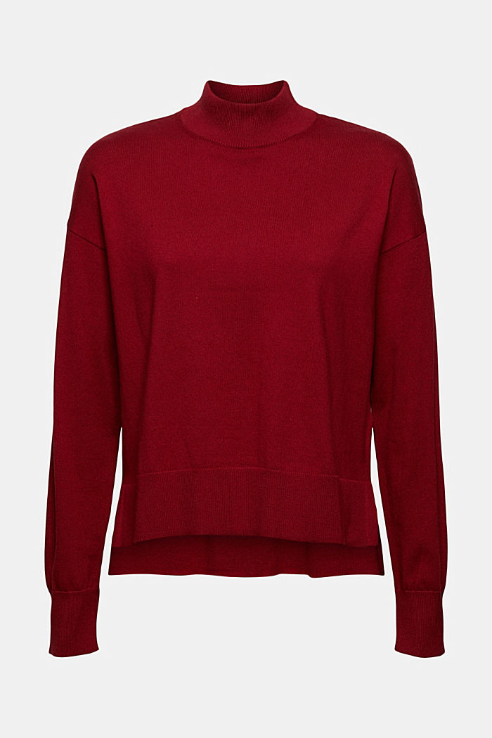 Blended cotton jumper with a stand-up collar