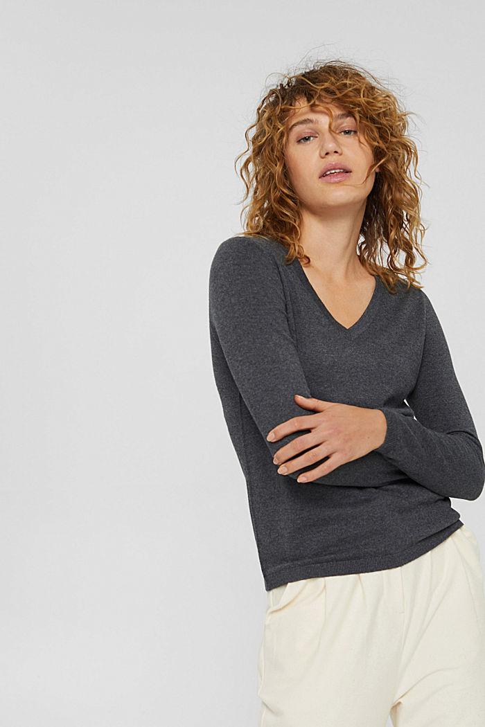 Basic V-neck jumper, organic cotton blend, DARK GREY, detail image number 0