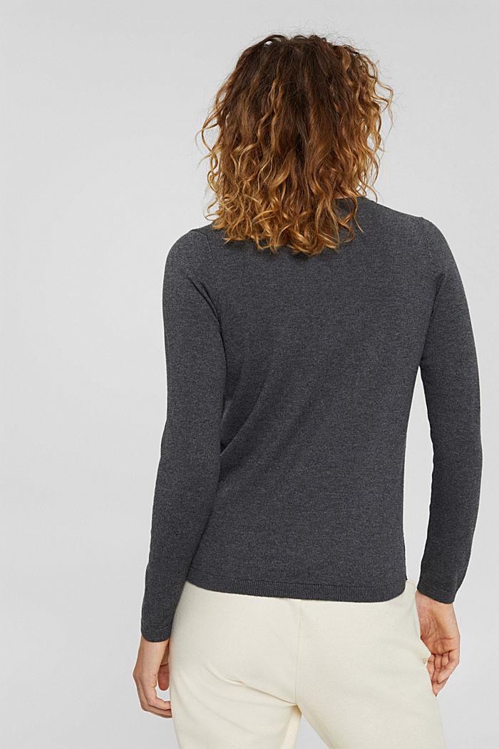 Basic V-neck jumper, organic cotton blend, DARK GREY, detail image number 3