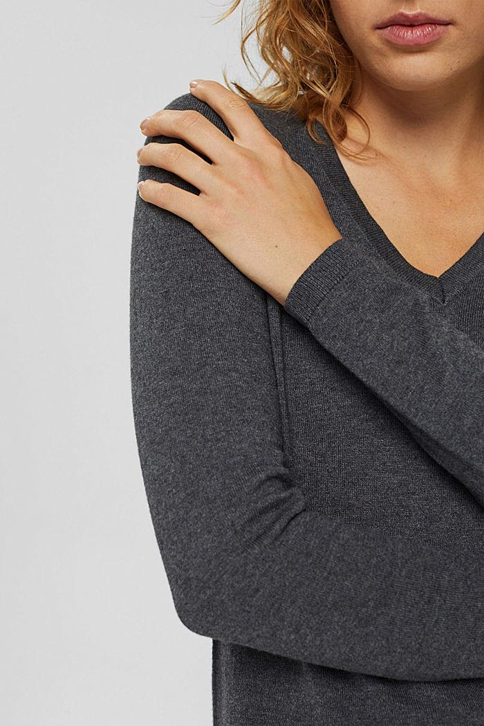 Basic V-neck jumper, organic cotton blend, DARK GREY, detail image number 2