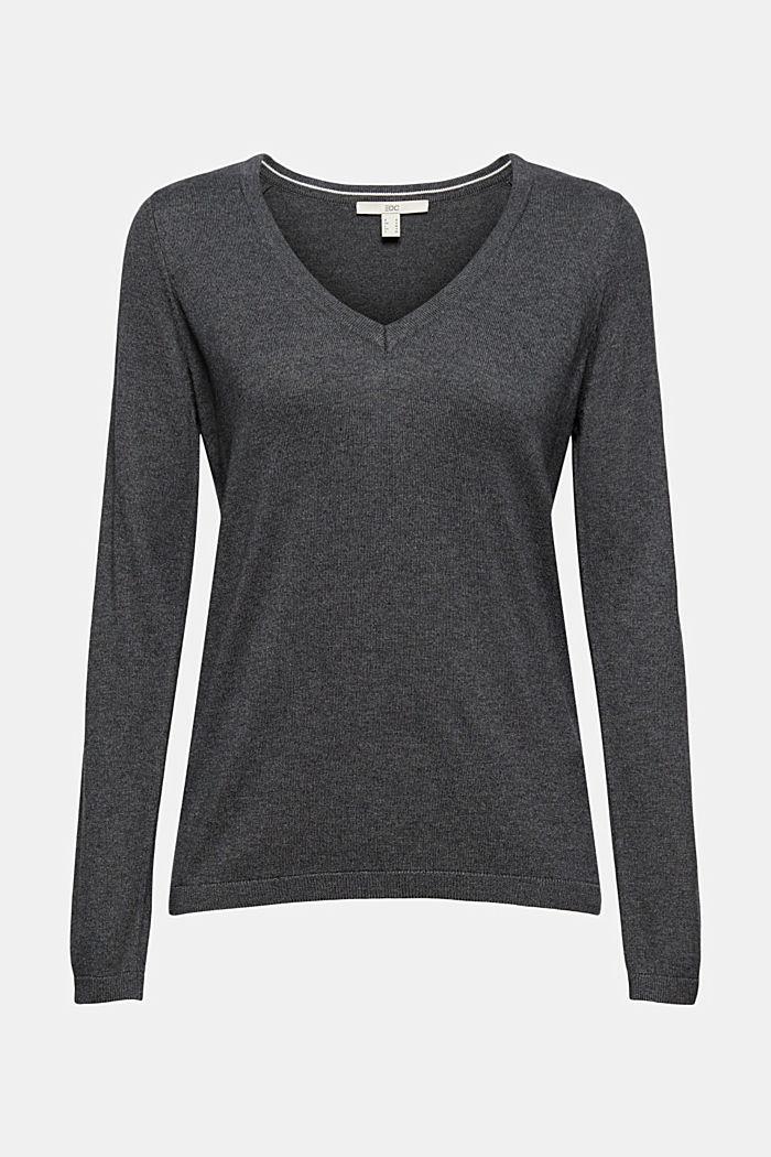 Basic V-neck jumper, organic cotton blend, DARK GREY, detail image number 5
