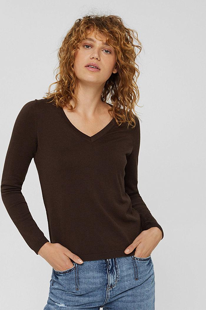 Basic V-Neck-Pullover, Bio-Baumwoll-Mix, BROWN, detail image number 0