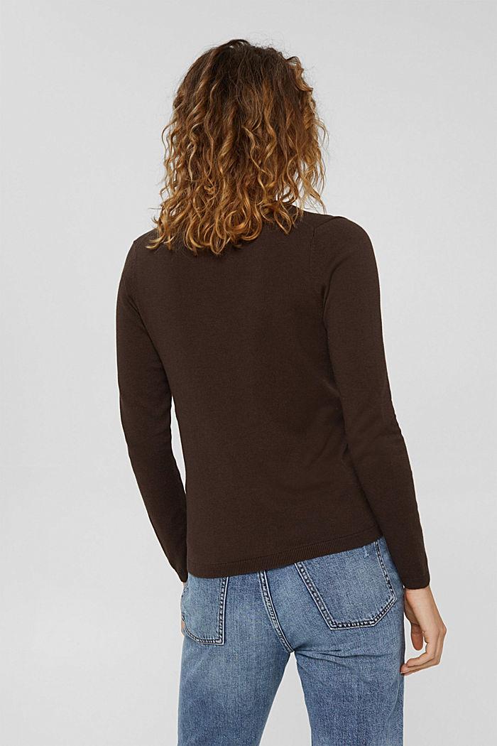 Basic V-Neck-Pullover, Bio-Baumwoll-Mix, BROWN, detail image number 3