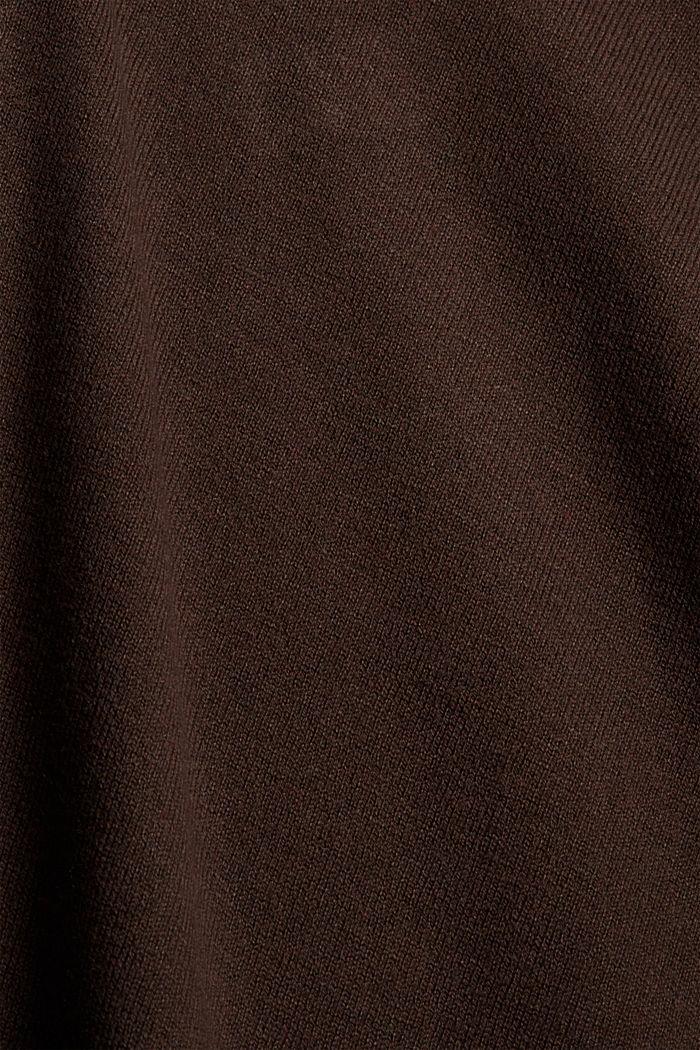 Basic V-Neck-Pullover, Bio-Baumwoll-Mix, BROWN, detail image number 4
