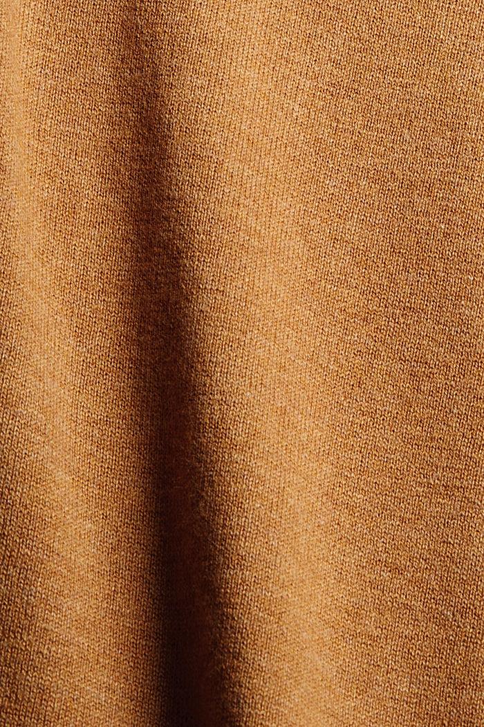 Jersey básico de cuello en pico, mezcla de algodón ecológico, BARK, detail image number 3