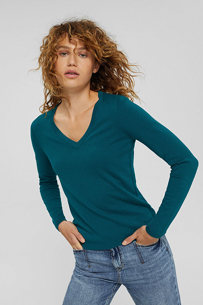 Basic V-Neck-Pullover, Bio-Baumwoll-Mix, EMERALD GREEN, detail image number 0
