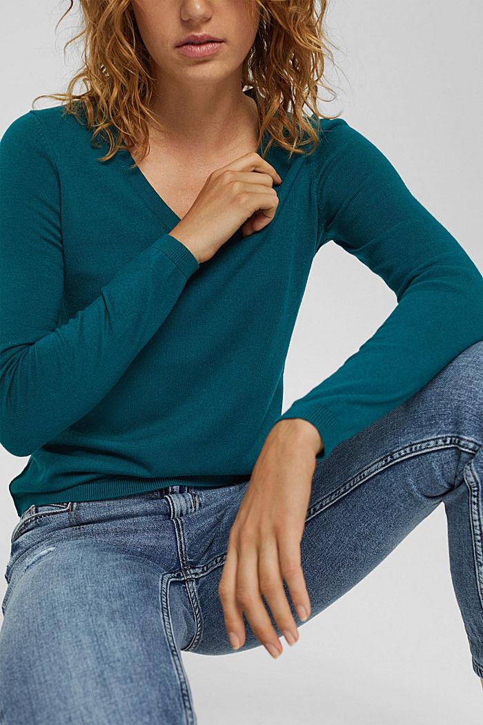 Basic V-Neck-Pullover, Bio-Baumwoll-Mix, EMERALD GREEN, detail image number 2